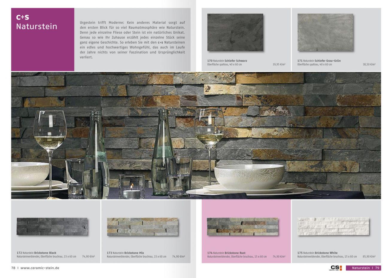 Ceramic + Stein Katalog Wand mit Natursteinen
